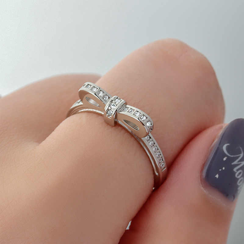 BICUX Simple Crystal Ring For Women White Zircon Stone Available Romantic Engagement Wedding Gift For Girlfriend Women Jewelry