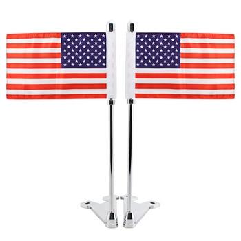 2 Pcs Motorcycle Luggage Rack Vertical Flag Pole Chrome Mast For Harley Touring FLHTCU FLHT FLHX FLTR Ultra