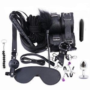Image 1 - 13PCS Set Stimulate Bondage Restraints leather Plush BDSM Sex Handcuffs Whip Metal Anal Plug Erotic Sex Toys For Couples Adults