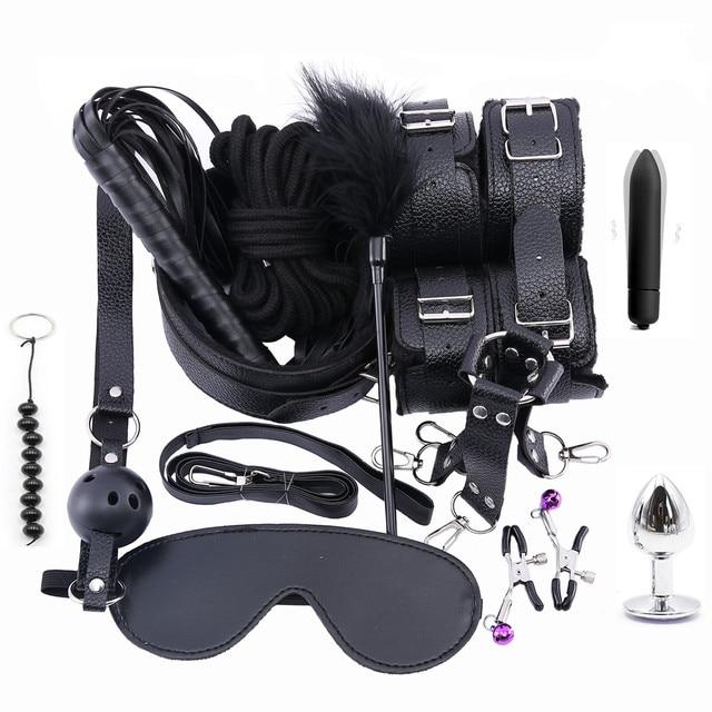 13PCS Set Stimulate Bondage Restraints leather Plush BDSM Sex Handcuffs Whip Metal Anal Plug Erotic Sex Toys For Couples Adults