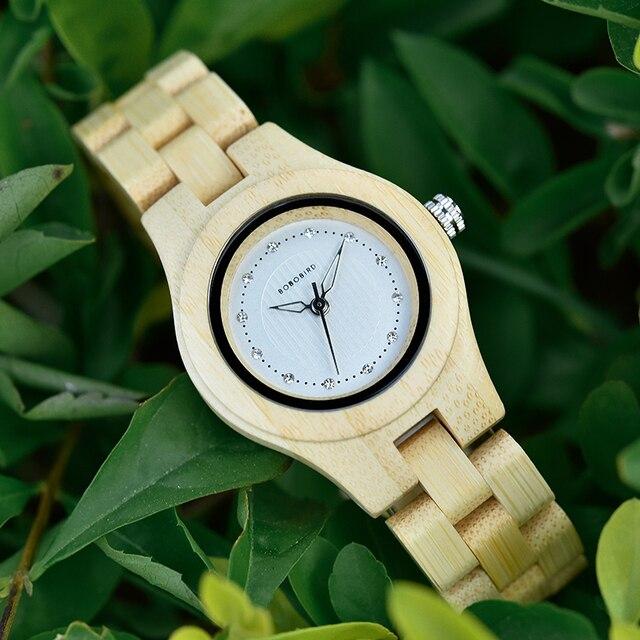 BOBO PÁSSARO Das Senhoras Relógios De Luxo De Madeira De Bambu Moda Únicas Mulheres Quartz Relógio de Pulso relogio feminino com Diamante
