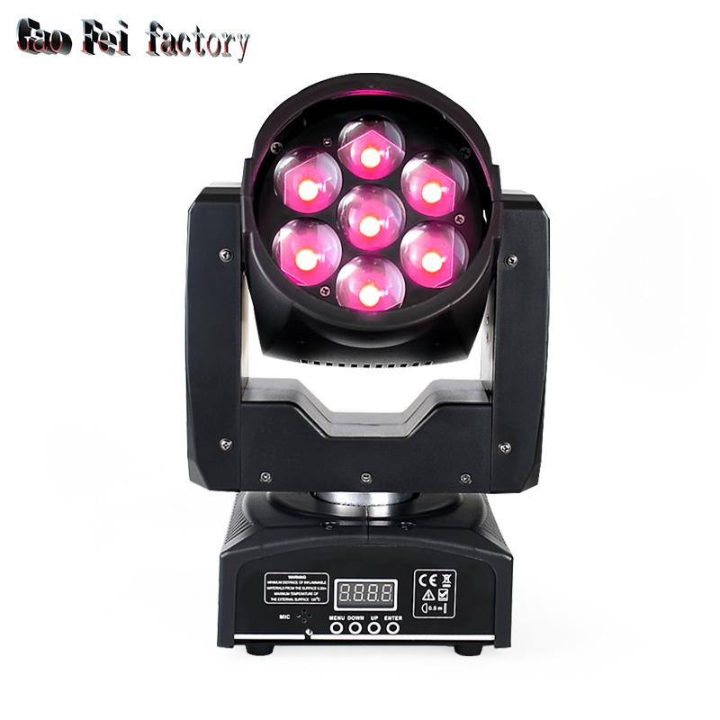 Disco Dj Lighting Zoom Wash 7*12W RGBW 4in1 Led Color Mixing Mini Moving Head Stage Light
