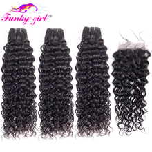 Funky Girl Brazilian Water Wave Human Hair Bundles With Closure 3 or 4 Bundles With 4*4 Lace Closure Non Remy Hair Weave Bundles