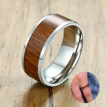 8mm Men's Ring Wood Inlay Stainless Steel Silver Wedding Brands Beveled Edge Promise Engagement Ring(China)