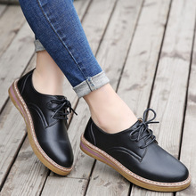 Female Sneakers Flats-Shoes British-Style Casual Genuine-Leather New Lace-Up