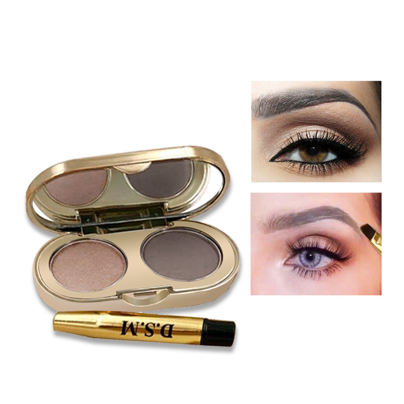 D.S.M Professional Eyebrow Powder 2 Colors Waterproof Eyebrow Non-smudge Eye Brow Makeup Eyeshadow Palette Cosmetics Makeup Kit 2