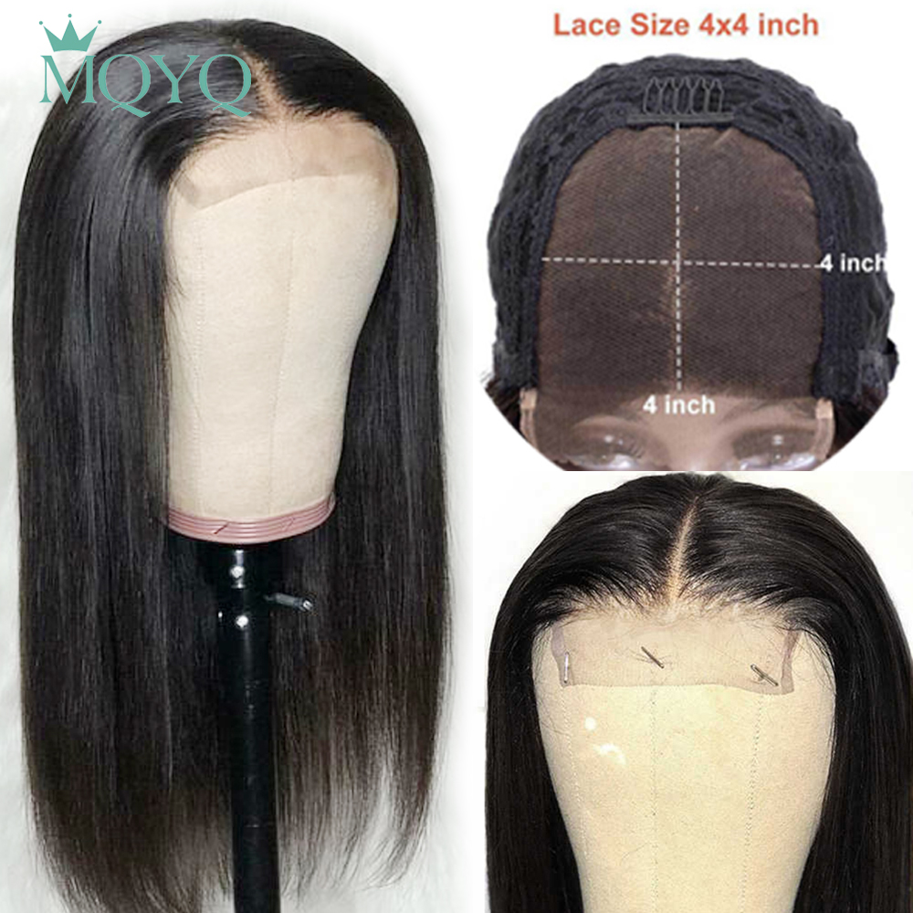MQYQ 4*4 Lace Closure Human Straight Hair Wigs Pre Plucked Hairline With Baby Non Remy Hair Malaysia Lace Closure Wigs Hair