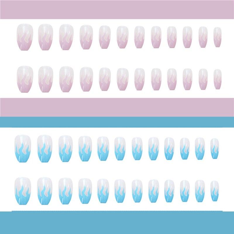 2020-New-European-Square-Flame-Fake-Nails-Design-Blue-Purple-Fire-Pattern-Full-Cover-False-Nails (7)