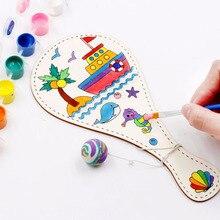 Дети рисунок картина ручной работы деревянная ракетка граффити игрушки для детей обучающая игра творческие DIY ручная живопись Pat мяч
