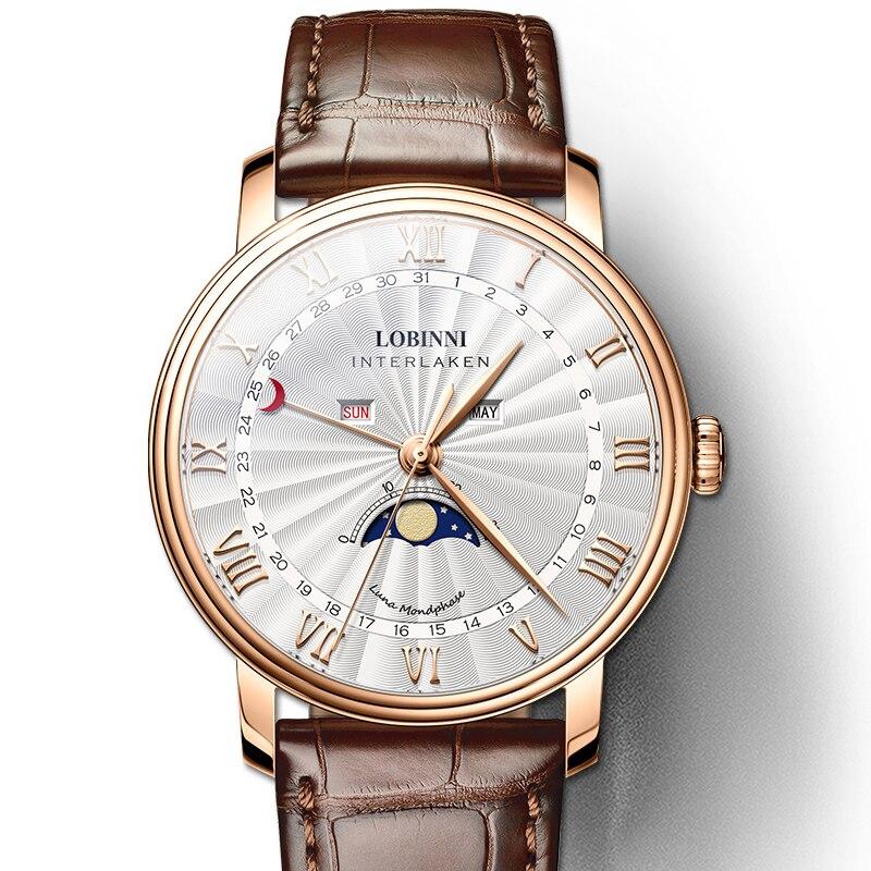 Suisse LOBINNI hommes marque de luxe montre à Quartz hommes saphir étanche Phase de lune japon mouvement à Quartz mâle bracelet