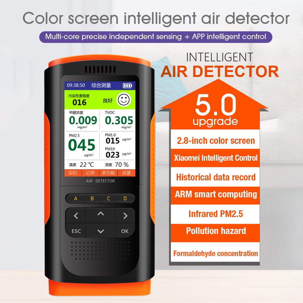 Air Quality Monitor Portable Display Formaldehyde Detector Air Pollution Meter Micro Dust HCHO TVOC PM2 5 PM10 Tester 5V 1A