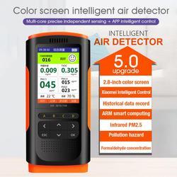 Monitor de qualidade do ar display portátil medidor de poluição do ar detector formaldeído micro poeira hcho tvoc pm2.5/pm10 testador 5v/1a