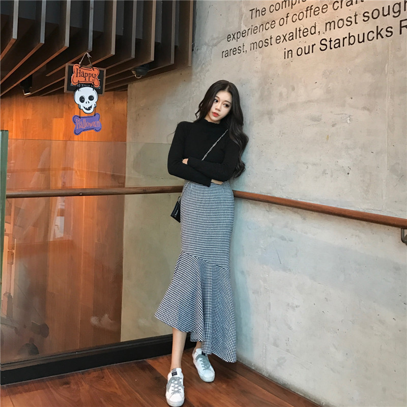 New High Waist Plaid Wool Long Women's Mermaid Skirt Winter Fashion Elegant Warm Trumpet Skirts Casual Women Clothes DS50915
