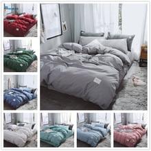 Nuevo juego de cama de lujo de Color puro, juego de edredón moderno, juego de edredón, cama doble completa, juego de sábanas planas de algodón híbrido