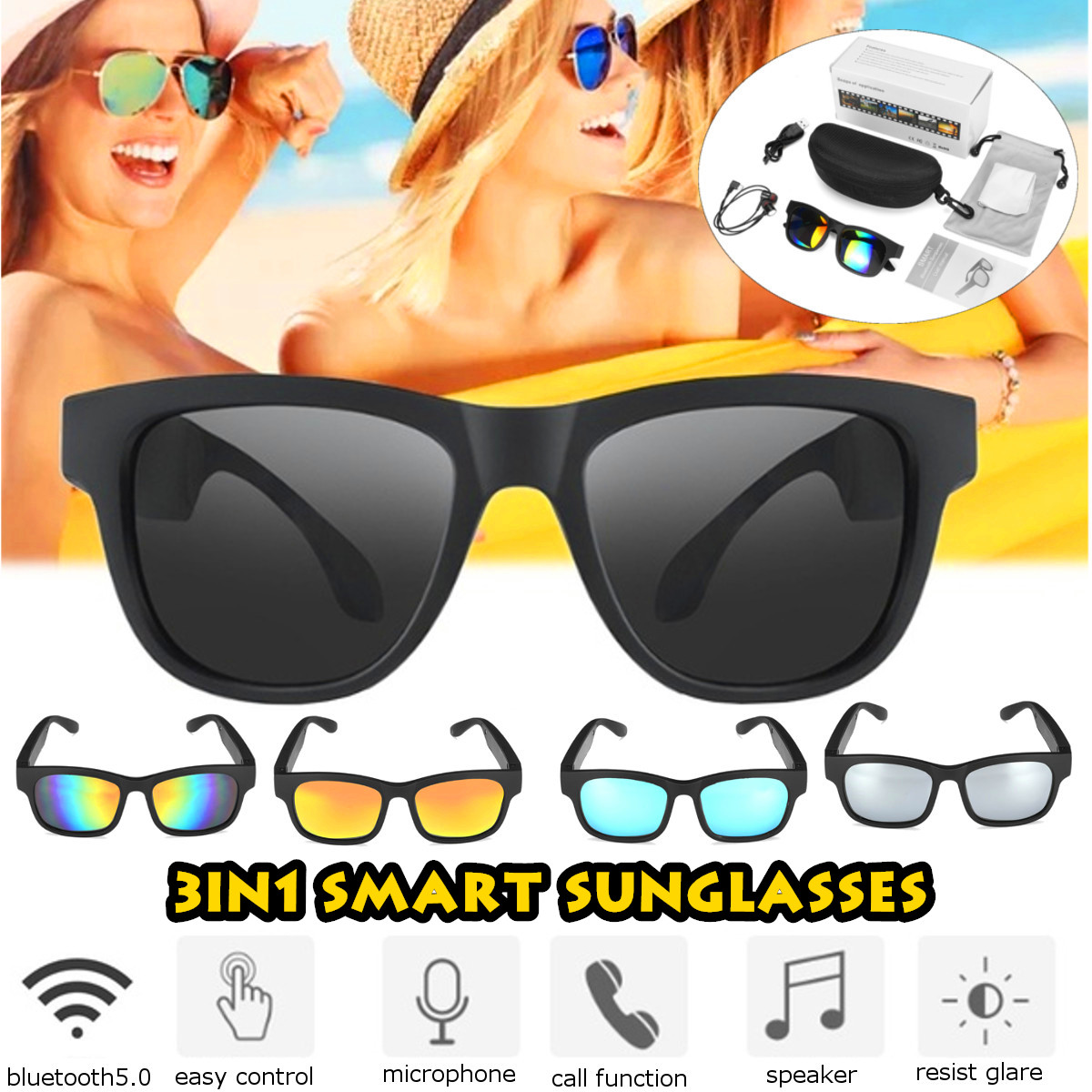 3IN1 bluetooth 5.0 Smart Sports Headphone Sunglasses Wireless Stereo Audio Sunglasses IPX7 Headset Earphone Speakers with mic