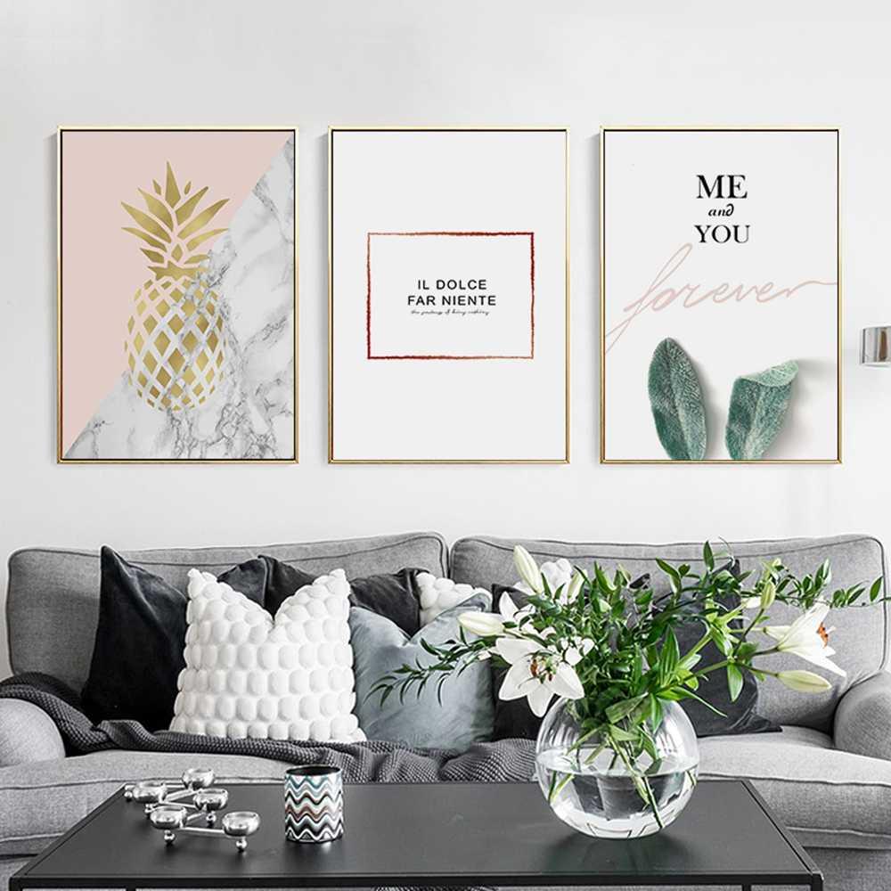 Nórdico ouro abacaxi arte citações pintura da lona cartazes e impressões imagem na parede para sala de estar decoração cuadros