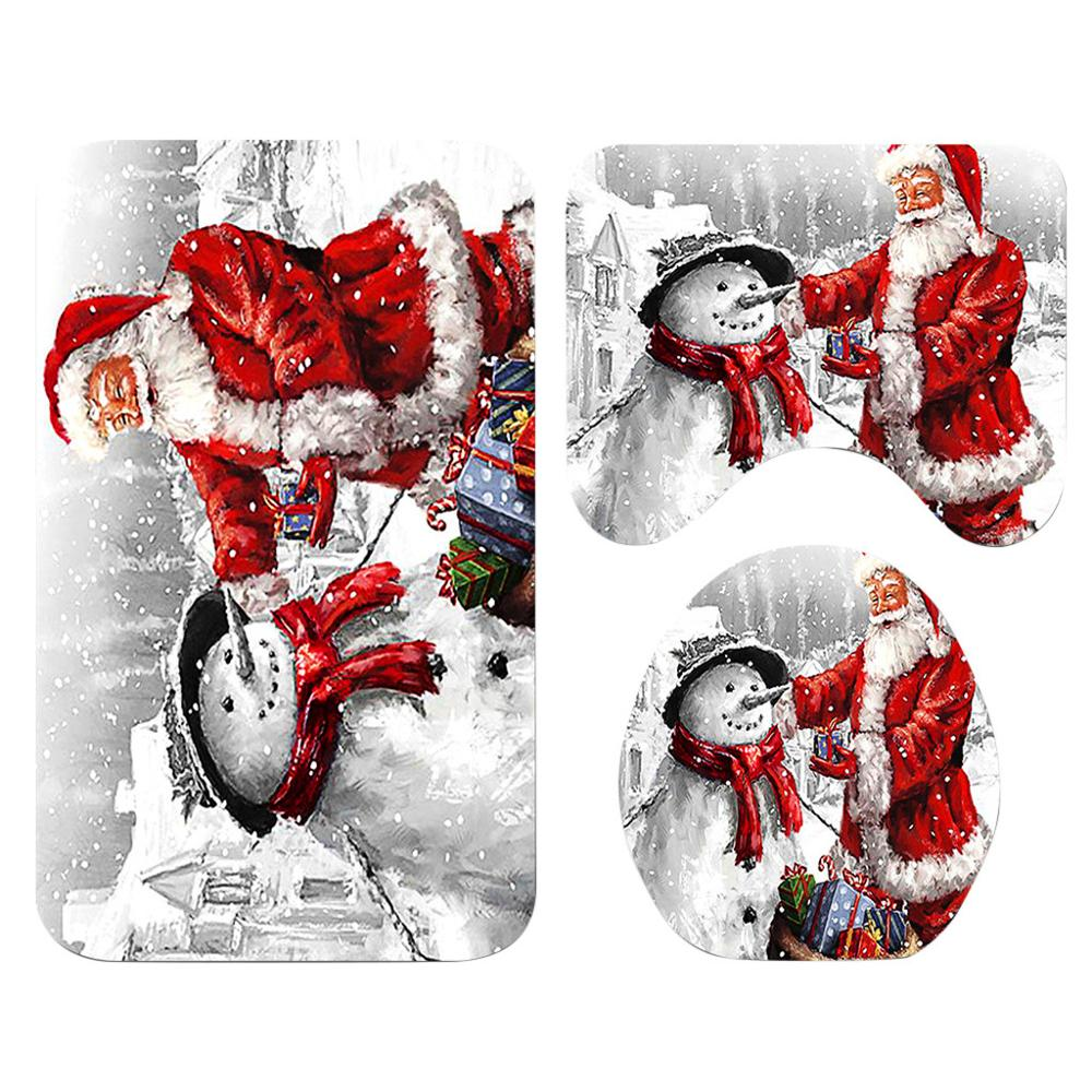 Santa Claus Printed Bathroom Curtain Set Made Of Flannel Material For Toilet And Bathroom 4
