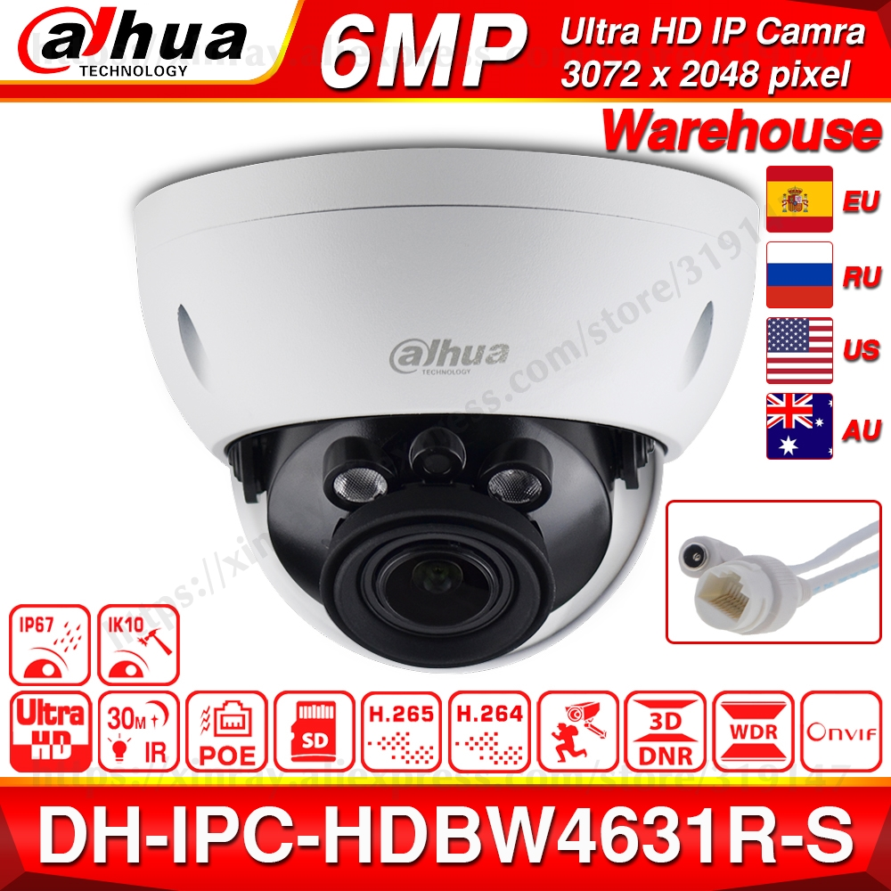 Dahua IPC-HDBW4631R-S 6MP POE IP Camera Support 30M IR IK10 IP67 POE H.265 SD Card Slot WDR Upgrade From IPC-HDBW4431R-S
