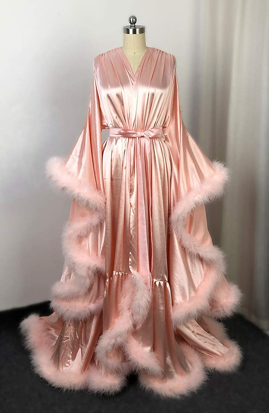 Feather Silk Satin Evening Robe Long V Neck Bathrobe Aline Formal Party Gowns Bridal Robe Satin Long Wedding Dress