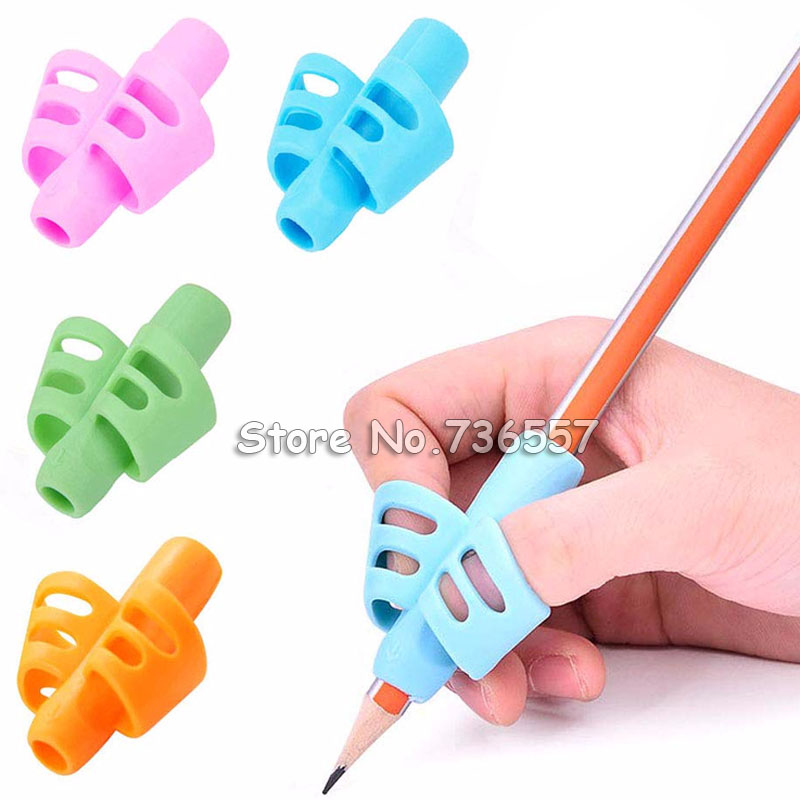 4 Pcs Two-finger Silicone Pen Grips Four Colors Mixing Student Stationery Writing Posture Corrector Pencil Cover Love Writing