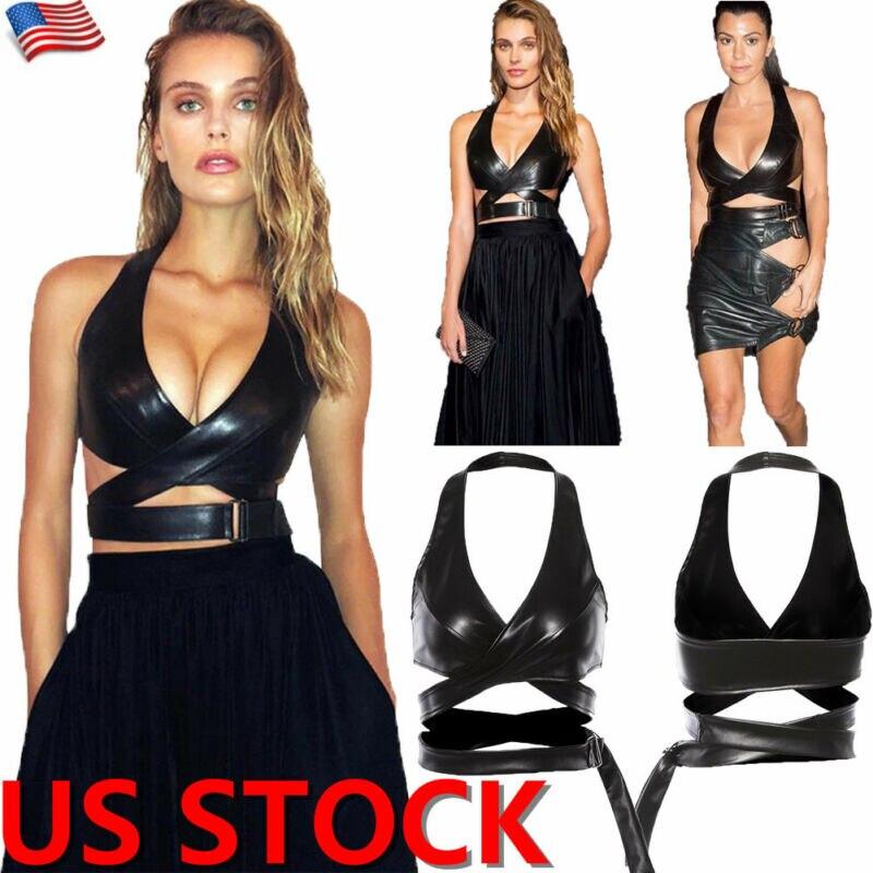 Hot Women PU Leather Crop   Top   Bralette Bustier Bra Sleeveless   Tank     Tops   Clubwear 2019 New Fashion Brand