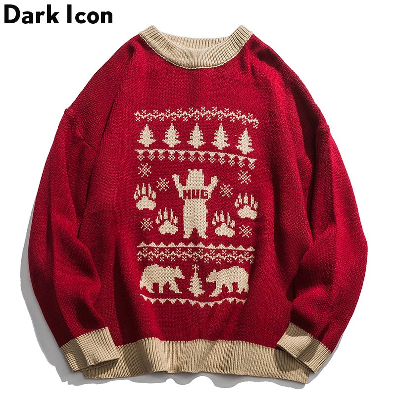 Drak Icon O-neck Loose Knitted Bear Sweater Men 2019 Winter New Fashion Christmas Sweater Men Clothing