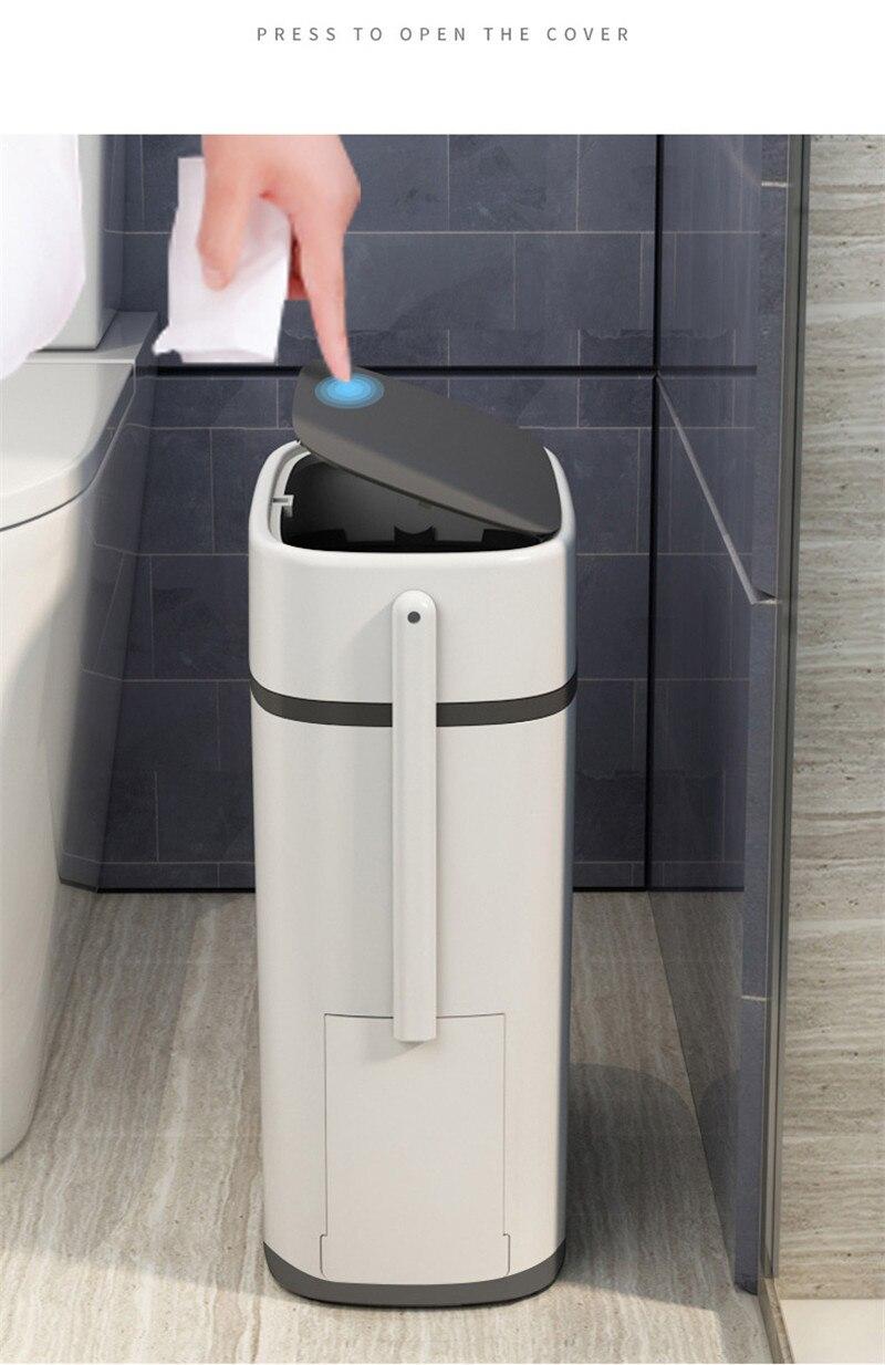 14l estreito entalhe waste bin doméstico impermeável