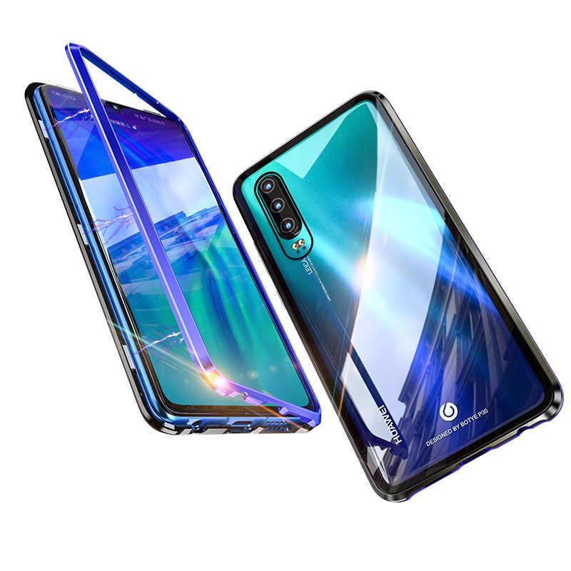 Funda magnética metálica de aluminio de lujo para coque Huawei P30 Pro teléfono armadura magnética con cubierta trasera de cristal Huawei P20Pro funda P 20
