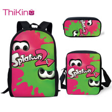 Thikin New School Bags for Boys Splatoon Game Pattern 3Pcs Backpacks Girls Kids Book Children Supplies