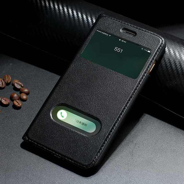 Genuine Leather Case For Iphone 7 8 Plus Case For XS Max Cover Window View Protection Coque For Iphone X XR SE 2020 Cases Fundas