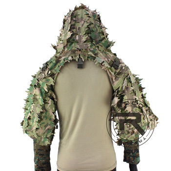 ROCOTACTICAL Tactical Ghillie Suit Breathable Ghillie Viper Hood with 3D Leafy Stripes Sniper Coat for Wargame, Hunting, CS 1