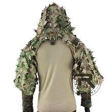 Rocotactical tático ghillie terno respirável ghillie viper capa com listras 3d frondosas sniper casaco para wargame, caça, cs