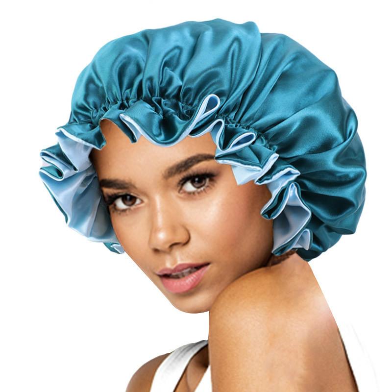 New Solid Women Satin Bonnet Fashion Stain Silky Big Bonnet for Lady Sleep Cap Headwrap Hat Hair Wrap Accessories Wholesale