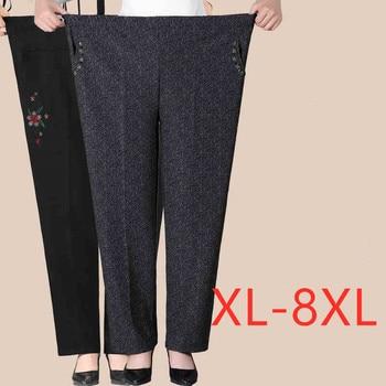 Pantalones de terciopelo para mujer de mediana edad, pantalón informal holgado con cintura elástica, de talla grande, XL-8XL, cálido, J209