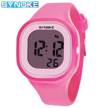 Zegarki dla dzieci powyżej 12 lat SYNOKE marka cyfrowy zegarek wodoodporny studenci zegarek dla chłopców zegarek sportowy dla dziewczynki Kid tanie tanio 5Bar Z tworzywa sztucznego Klamra CN (pochodzenie) Żywica 23 5cm Nie pakiet 44 7mm Silikon Children Watch Plac 22 08mm