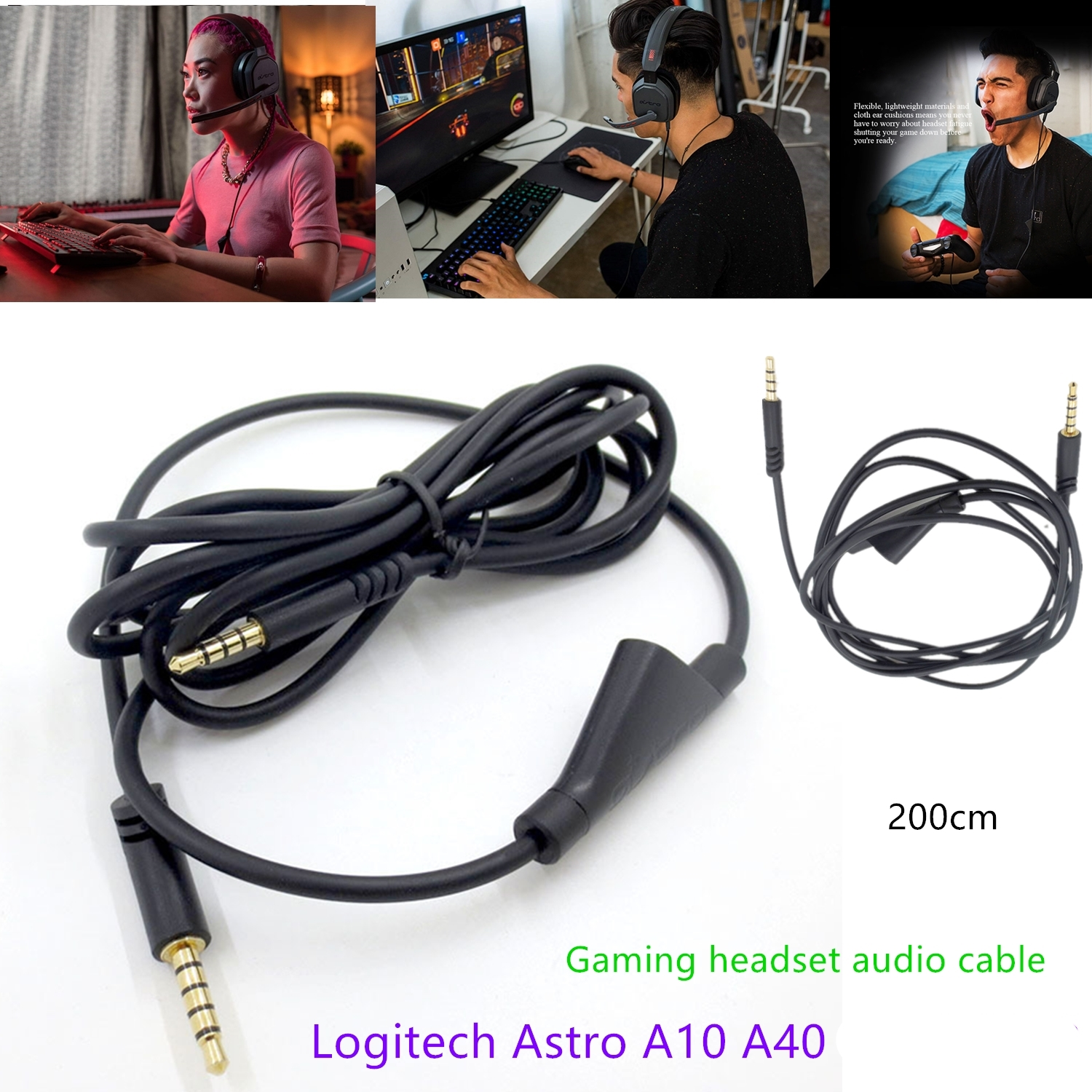 Suitable For Logitech Astro A10 A40 Gaming Headset Audio Cable Audio Line Wire 2 M