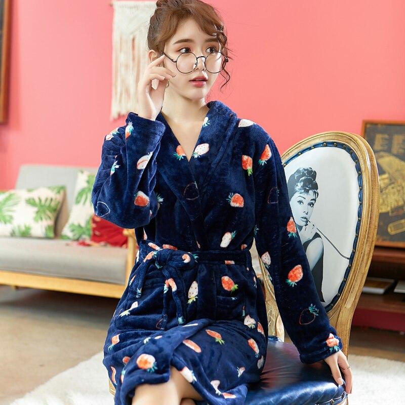 Women Sleepwear Robe Kimono Gown Lady Winter Warm Coral Fleece Nightwear Home Cothing Flannel Long Sleeve Homewear Nightdress