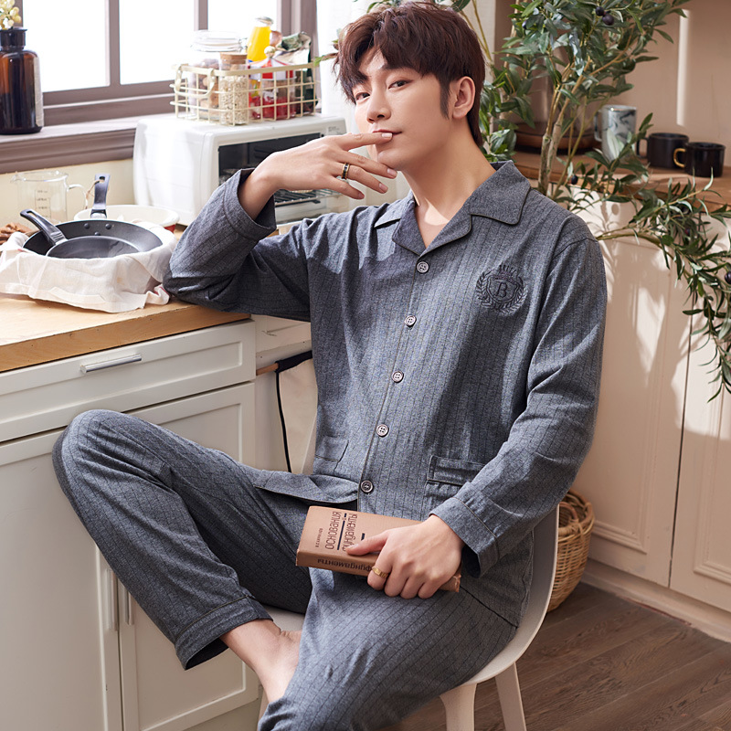 Pajama Men Spring And Autumn Cotton Long Sleeve Youth Cotton Autumn And Winter Style Middle-aged Dad Casual Home Wear Suit