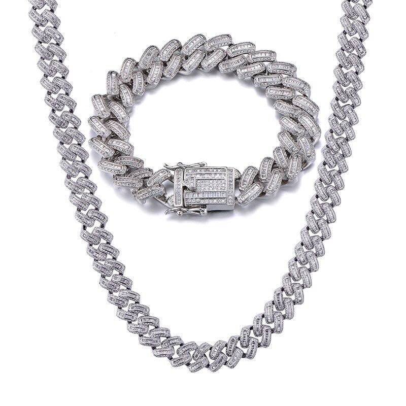 15MM Bling glacé AAA CZ carré zircone lien cubain chaîne collier pour hommes cuivre colliers pour hommes Hip Hop bijoux