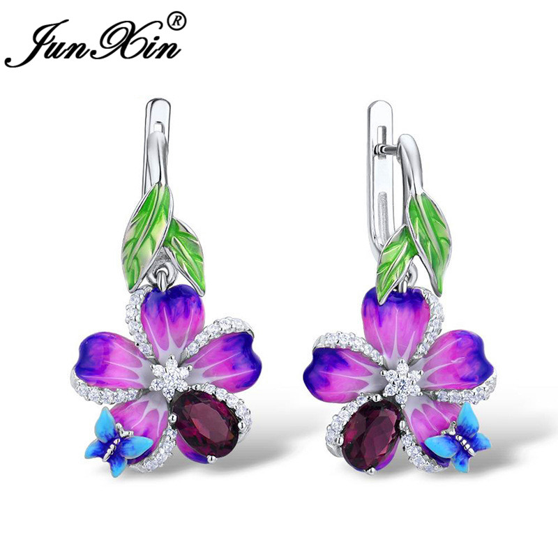 Boho Red Stone Animal Butterfly Earrings White Gold Purple Pink Green Enamel Flower Hoop Earrings For Women Charm Jewelry