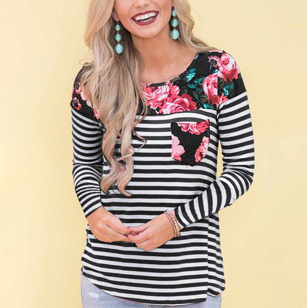 Women Blouse Maternity Long Sleeve Striped Print Nursing Tops T-shirt Breastfeeding Mom Ladies Casual Winter Blouse C50#