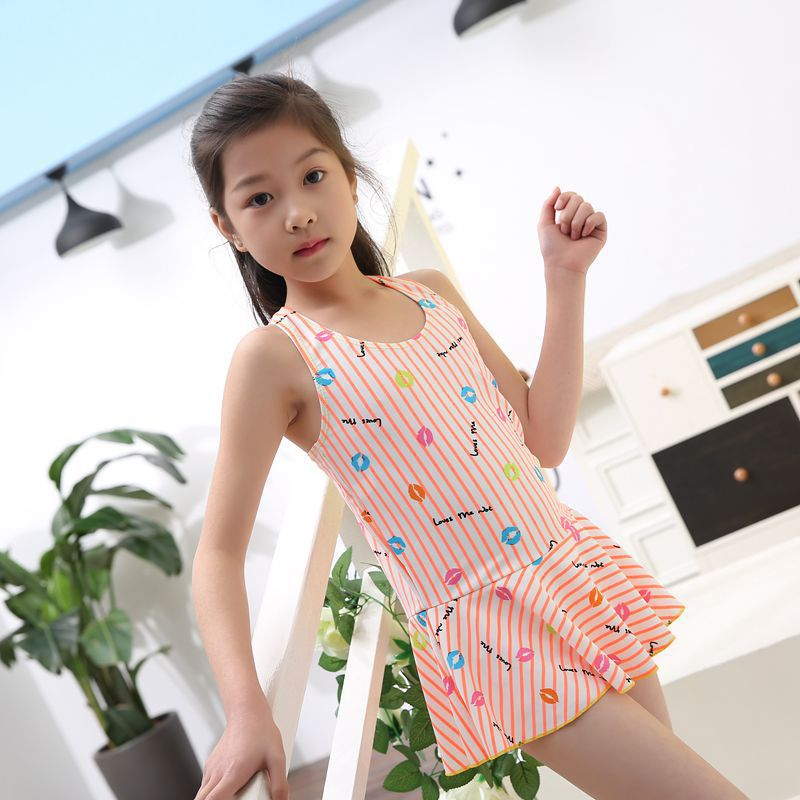 Creative-Big Boy Bathing Suit New Style Skirt One-piece Boxer Girls Students Tour Bathing Suit Hipster Bathing Suit Women's