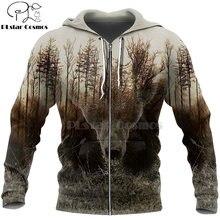 Охотничьи рубашки plstar cosmos с 3d принтом медведя толстовки