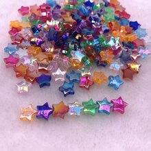 50 pces 11mm transparente ab cor de cinco pontas estrela contas acrílicas solto espaçador grânulos para fazer jóias diy pulseira acessórios