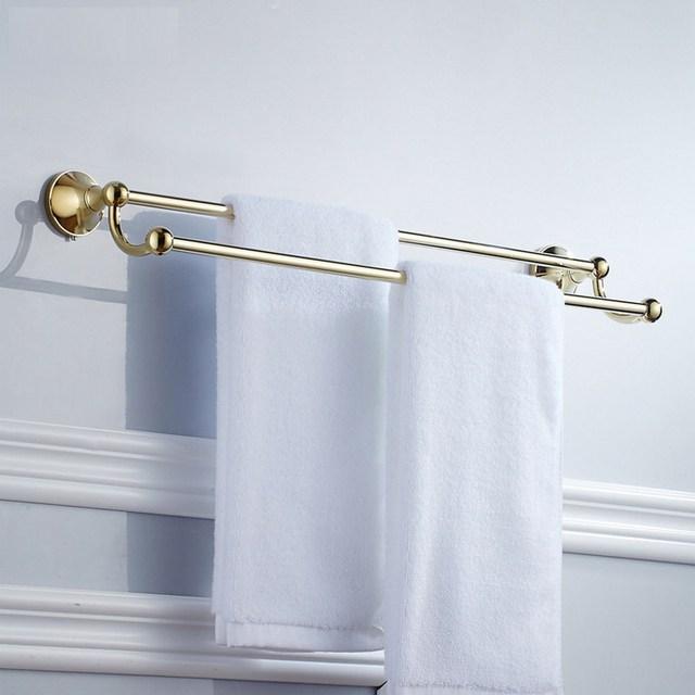 Gold Polished Brass Bathroom Accessories Towel Shelf Towel Bar Bath Hardware Set