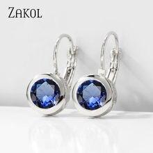ZAKOL-pendientes redondos de circonia cúbica para mujer, joyería de moda, Color dorado elegante, precio de fábrica más barato