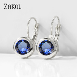 ZAKOL Trendy CZ Crystal Round Stud Earrings for Women Elegant Gold Color Zircon Fashion Jewerly Wholesale Cheaper Factory Price