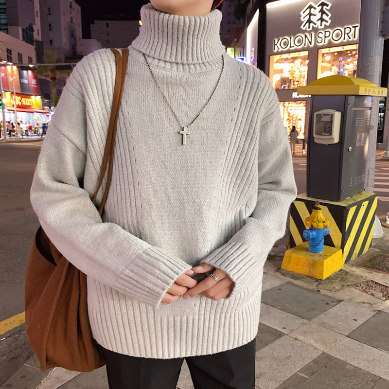 Winter High Collar Sweater Men's Warm Thick Knitting Sweaters Men Fashion Casual Knit Pullover Man Loose Male Sweter Clothes