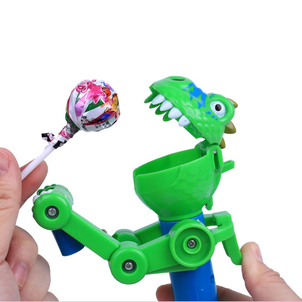 Manual Funny Dinosaur Eat Lollipops Robot Funny Eating Lollipop Holder Stand Gifts Decompression Toys For Kids Baby