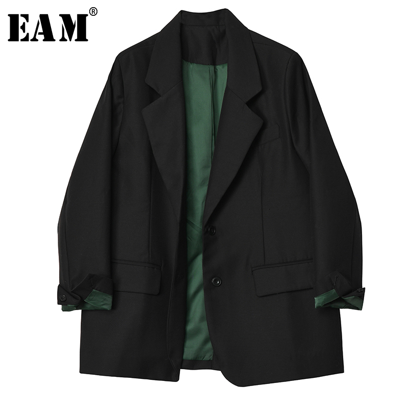 [EAM]  Women Black  Brief Temperament Blazer New Lapel Long Sleeve Loose Fit  Jacket Fashion Tide Spring Autumn 2020 1H455